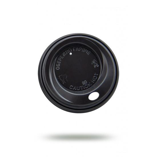 Крышка PS для бумажных стаканов Ø=70мм | Черная