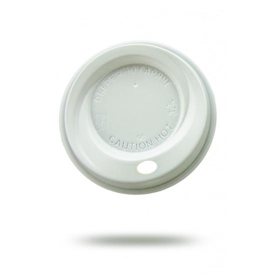 Крышка PS для бумажных стаканов Ø=90мм | Белая