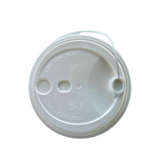 Крышка с питейником PP Ø=80мм   Черная для стаканов NEW