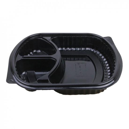 Контейнер PP 3-х секционный с крышкой | Черный 200*240мм