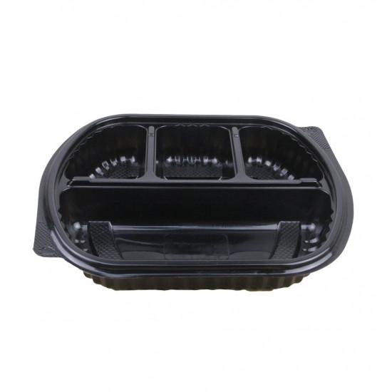 Контейнер PP 4-х секционный с крышкой | Черный 200*240мм