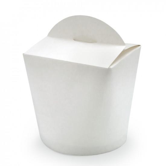Коробка бумажная для лапши (Паста Бокс) 500мл | Белая 1PE Ø=90мм, h=90мм