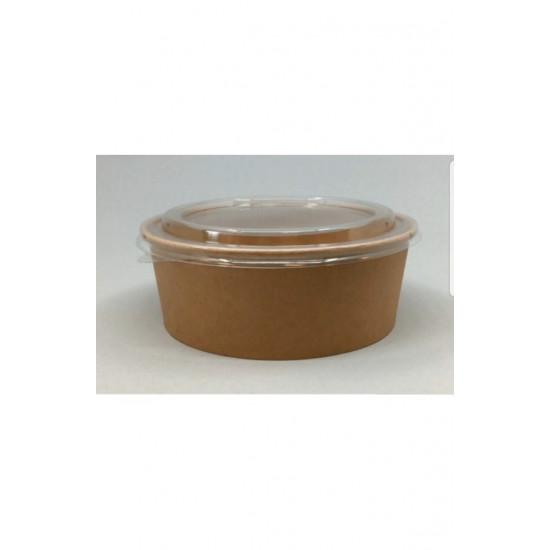 Контейнер бумажный круглый 750мл | Крафт 1PE Ø=150мм, h=60мм