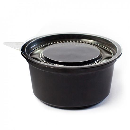 Соусник круглый с крышкой PS 80мл   Черный Ø=74мм, h=35мм