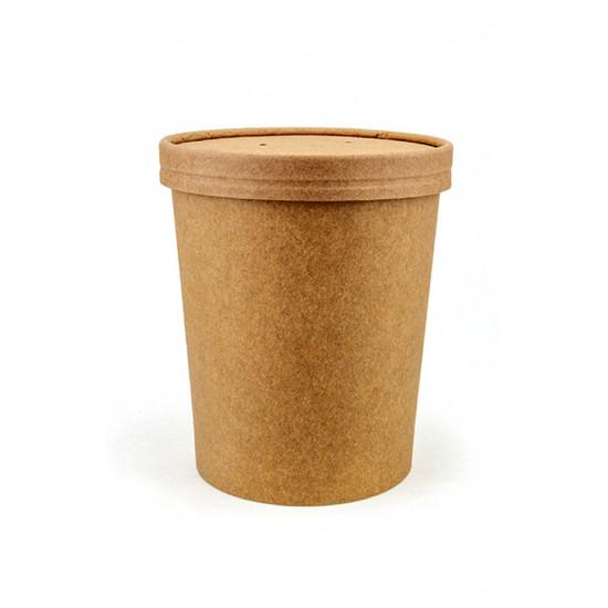 Комплект контейнер бумажный 1000мл c крышкой | Крафт 1PE
