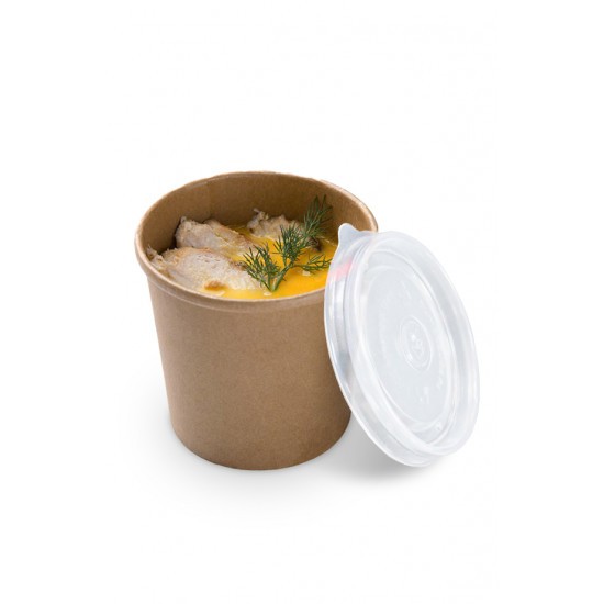Комплект контейнер бумажный 1000мл c крышкой PP | Крафт 1PE