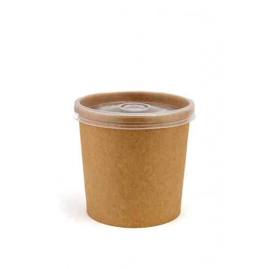 Комплект контейнер бумажный 340мл c крышкой PP | Крафт 1PE