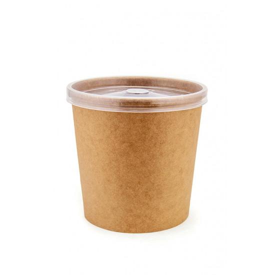 Комплект контейнер бумажный 760мл c крышкой PP | Крафт 1PE