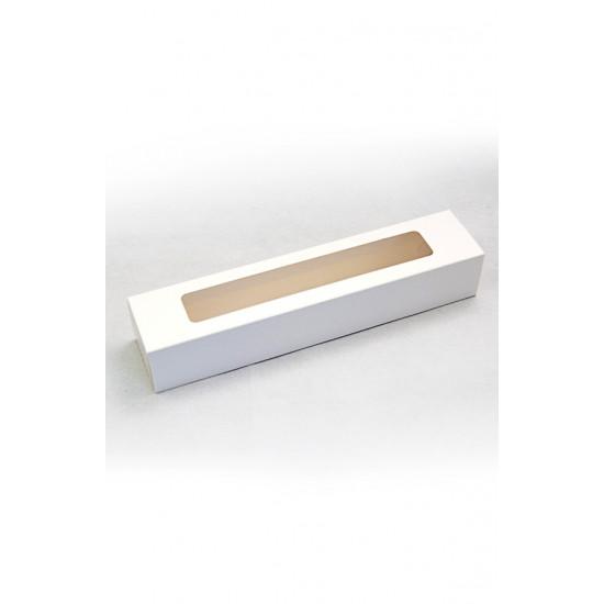 Коробка бумажная для макарун длинная с окошком | Белая 1PE 305*62*52мм