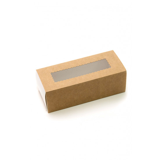 Коробка бумажная для макарун с окошком | Крафт/Белая 1PE 141*59*49мм