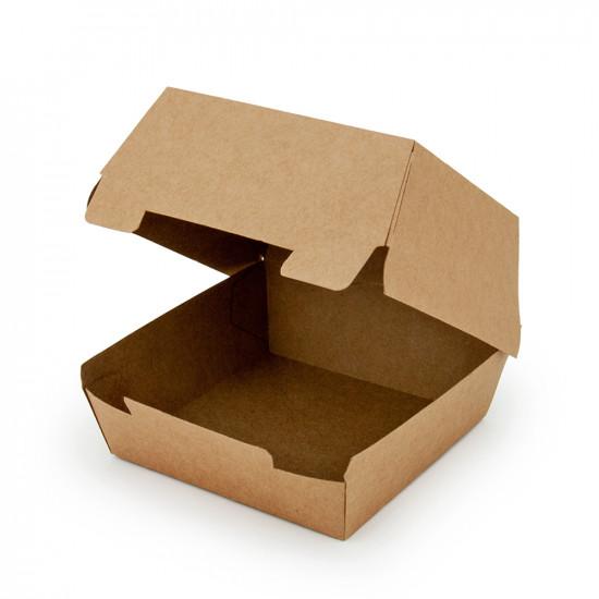 Коробка бумажная под бургер малая | Крафт 94*94*70мм