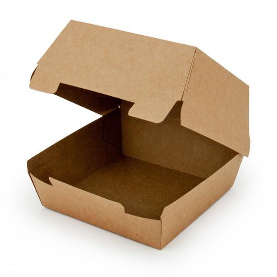 Коробка бумажная под бургер большая   Крафт 117*117*70мм