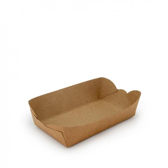 Тарелка-лодочка бумажная малая   Крафт 143*85*40мм