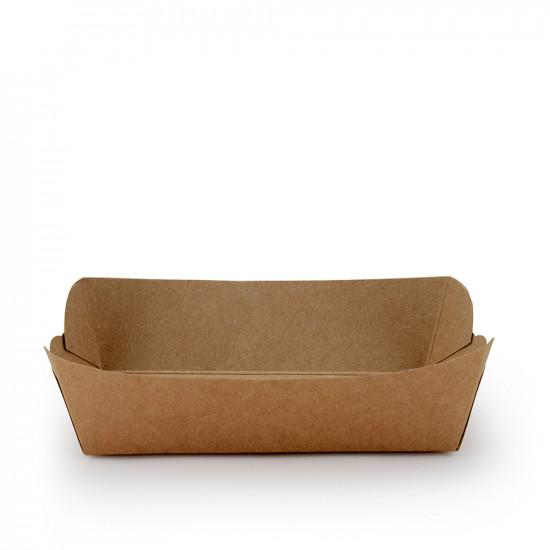 Тарелка-лодочка бумажная большая   Крафт 190*95*45мм