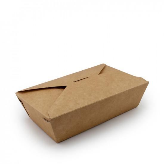 Ланч-бокс бумажный 1000мл | Крафт/Белая 1PE 185*105*55мм