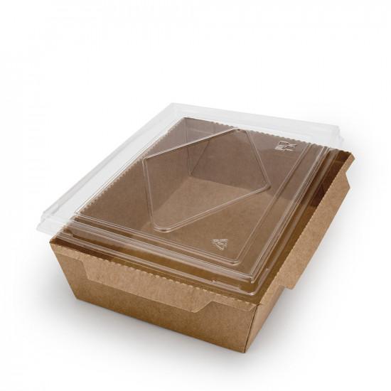 Контейнер бумажный 1200мл с плоской PET крышкой | Крафт 1PE