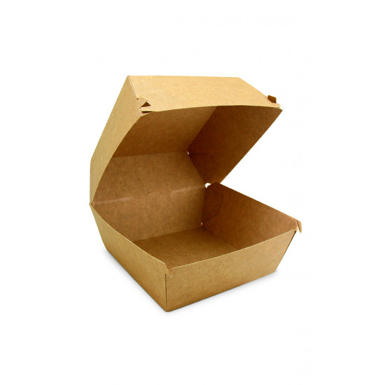 Коробка бумажная под бургер высокая | Крафт 118*118*86мм
