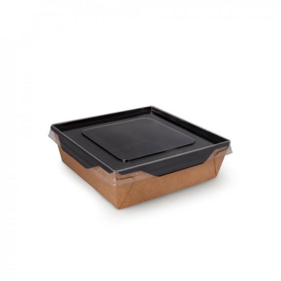 Контейнер бумажный 900мл с плоской PET крышкой | Крафт/Черная 1PE 150*150*50мм