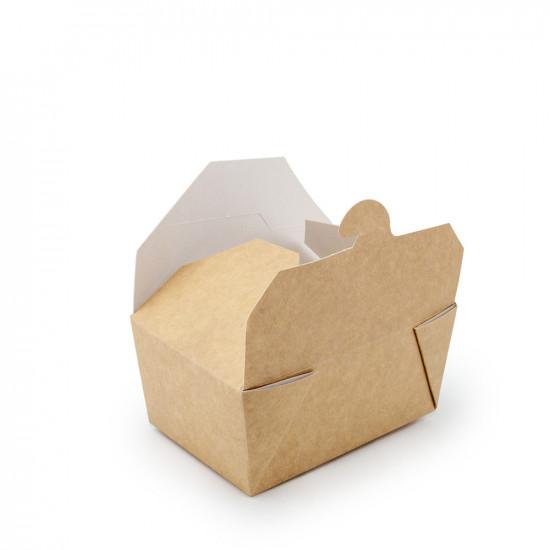 Контейнер универсальный для еды | Крафт/Белая 1PE 130*85*60мм