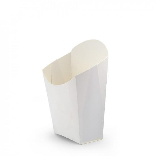 Коробка бумажная для картошки фри (М) малая | Белая 65*115мм