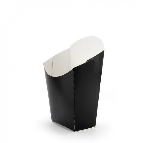 Коробка бумажная для картошки фри (М) малая | Черная 65*115мм