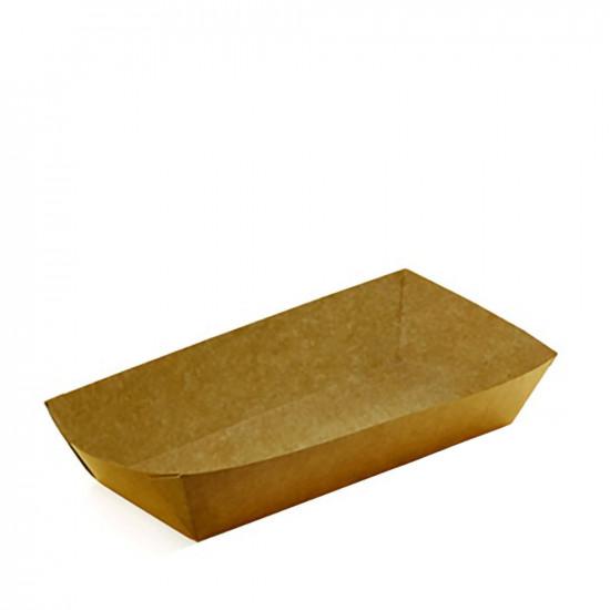 Тарелка-лодочка бумажная   Крафт/крафт 1PE 110*70*40мм