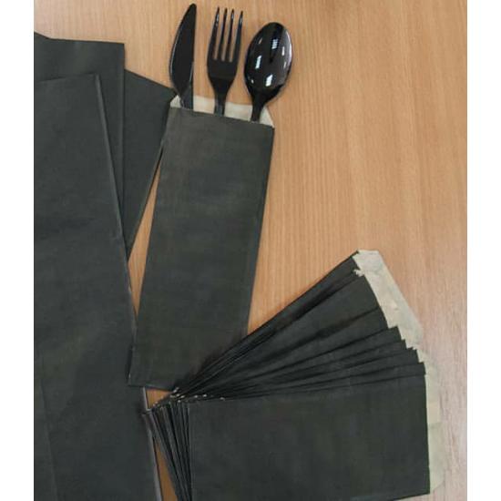 Пакет для столовых приборов | Черный/Крафт 220*90мм