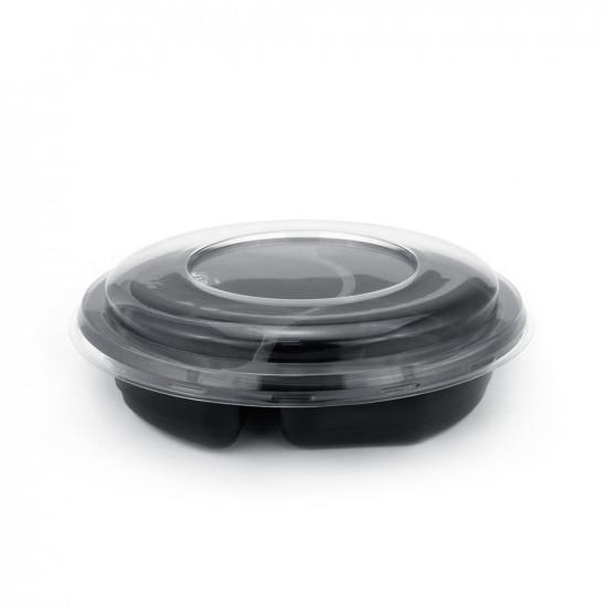 Контейнер PP 3-х секционный под запайку 650мл | Черный Ø=189мм, h=30мм