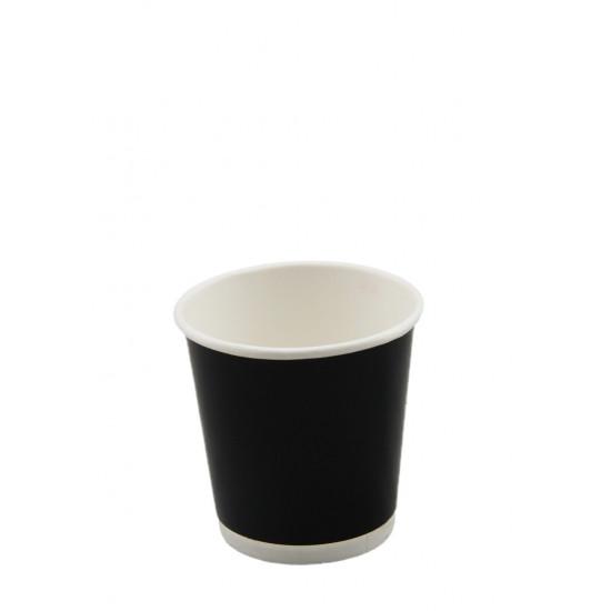 Стакан бумажный двухслойный 110мл | Черный с Белой стенкой Ø=61мм, h=45мм