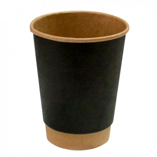 Стакан бумажный двухслойный 450мл | Черный на Крафт стенке Ø=90мм, h=135мм
