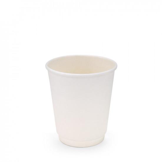 Стакан бумажный двухслойный 180мл | Белый Ø=69мм, h=80мм