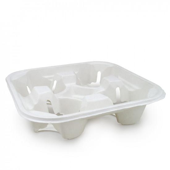 Холдер-держатель из сахарного тростника для 4-х стаканов   Белый