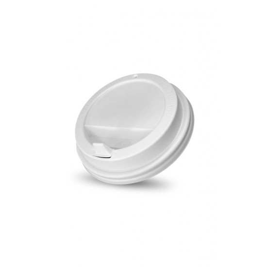 Крышка с питейником PS Ø=90мм | Белая для стаканчиков