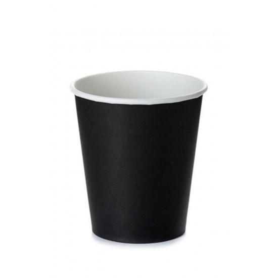 Стакан бумажный однослойный 230мл | Черный Ø=77мм, h=90мм