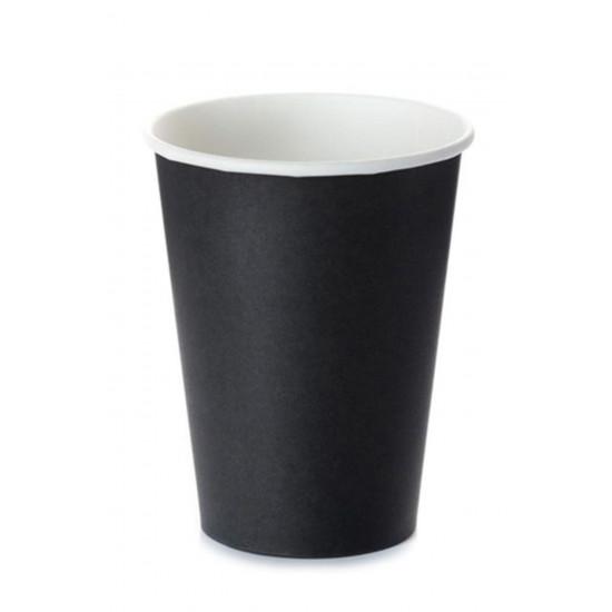 Стакан бумажный однослойный 340мл | Черный Ø=80мм, h=110мм