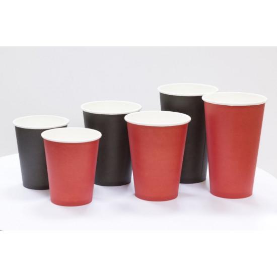 Стакан бумажный однослойный 340мл | Красный Ø=80мм, h=110мм
