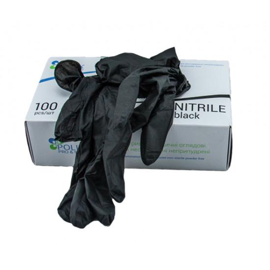 Перчатки нитрил L неопудренные | Черные (100шт/уп)
