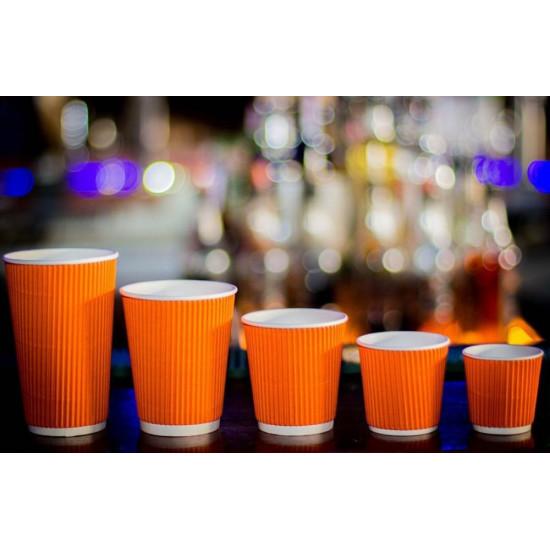 Стакан бумажный гофрированный 185мл | Оранжевый с Белой стенкой Ø=70мм, h=71мм