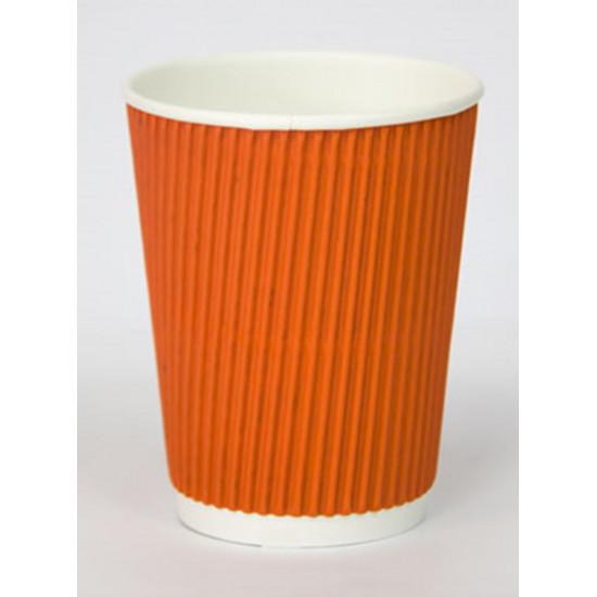 Стакан бумажный гофрированный 350мл | Оранжевый с Белой стенкой Ø=90мм, h=110мм