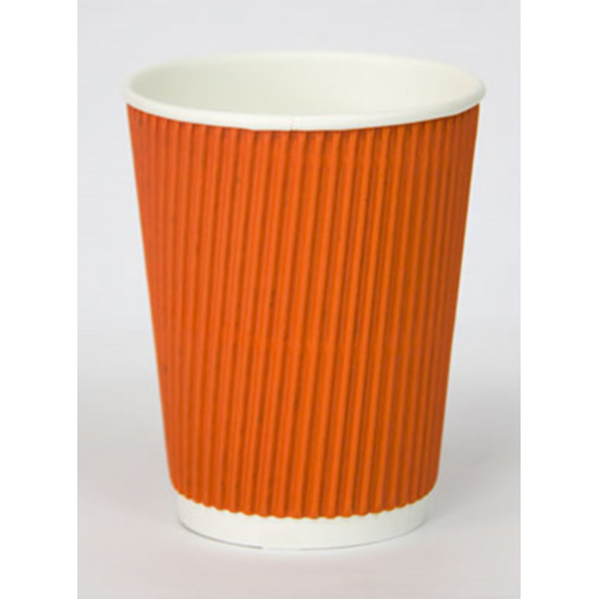 Стакан бумажный гофрированный 110мл   Оранжевый с Белой стенкой Ø=61мм, h=55мм