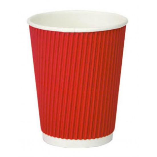 Стакан бумажный гофрированный 350мл | Красный с Белой стенкой Ø=90мм, h=110мм