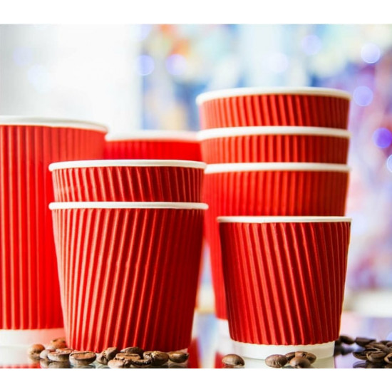 Стакан бумажный гофрированный 250мл | Красный с Белой стенкой Ø=80мм, h=89мм