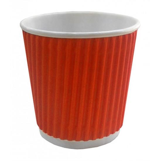 Стакан бумажный гофрированный 110мл | Красный с Белой стенкой Ø=61мм, h=55мм