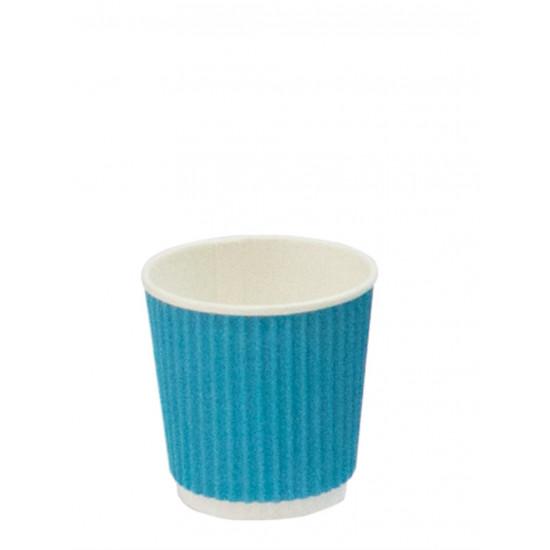 Стакан бумажный гофрированный 110мл | Голубой с Белой стенкой Ø=61мм, h=55мм