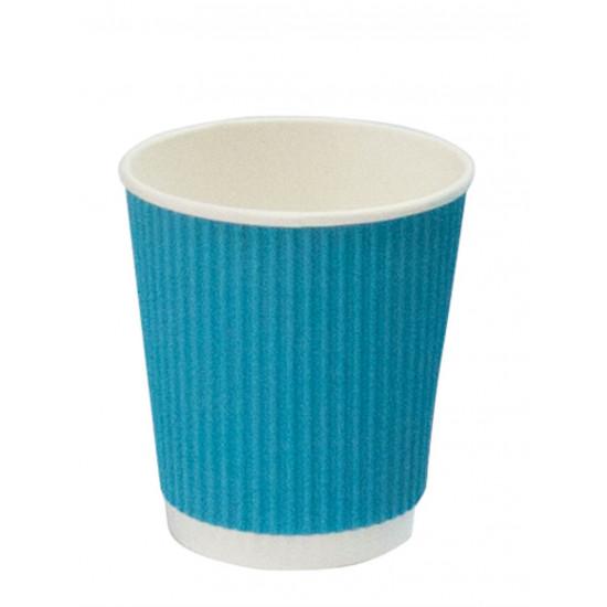 Стакан бумажный гофрированный 250мл   Голубой с Белой стенкой Ø=80мм, h=89мм