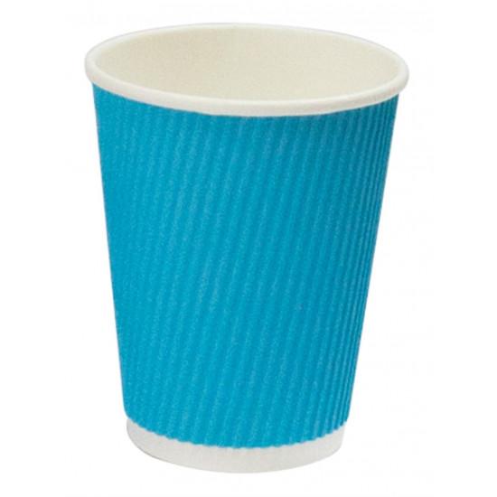 Стакан бумажный гофрированный 350мл | Голубой с Белой стенкой Ø=90мм, h=110мм