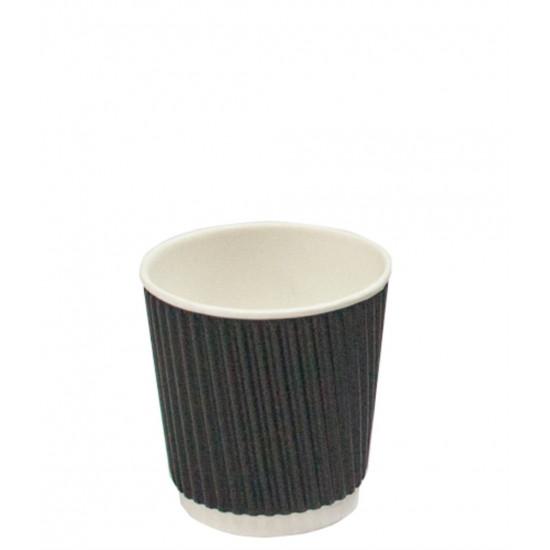 Стакан бумажный гофрированный 110мл | Черный с Белой стенкой Ø=61мм, h=55мм