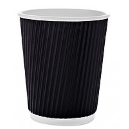 Стакан бумажный гофрированный 185мл | Черный с Белой стенкой Ø=70мм, h=71мм