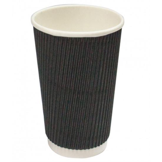Стакан бумажный гофрированный 250мл | Черный с Белой стенкой Ø=80мм, h=89мм
