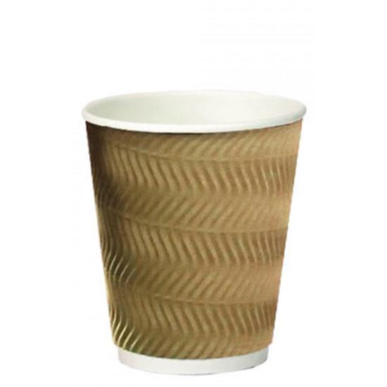 Стакан бумажный гофрированный S-волна 350мл | Бурый с Белой стенкой Ø=90мм, h=110мм